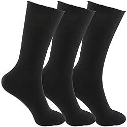 Calcetines SIN COSTURAS y SIN GOMA (3 pares) mujer. Calcetín alto, sin costuras y sin goma de primera calidad, evitan los roces y señales de presión. (Negro, eu: 35 - 40 // uk: 2 - 6)