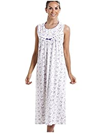 Camille Classic Sleeveless Purple Floral Print 100% Cotton White Nightdress