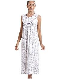 2234f1b09ed838 Damen Nachthemd aus 100% Baumwolle ärmellos weiß mit lilafarbenem  Blumenmuster