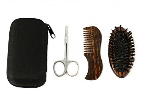 Set 3 pezzi compatto per la cura della barba RAZZOR nell'astuccio da viaggio - Spazzola da barba in