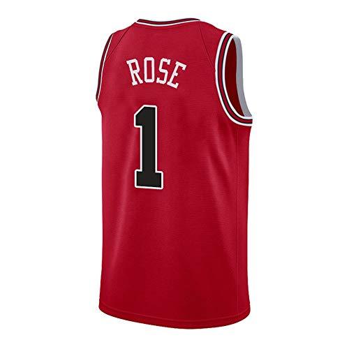 Herren Basketball Derrick Rose # 1 NBAChicago Bulls, New Fabric Embroidered Swingman Jersey Ärmelloses Shirt (Color : C, Size : L) Derrick Rose Jersey