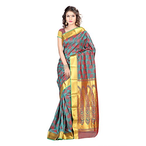 Varkala Silk Sarees Women's Art Silk Kanchipuram Saree With Blouse Piece(JP8103RMRD_Brown_Free Size)