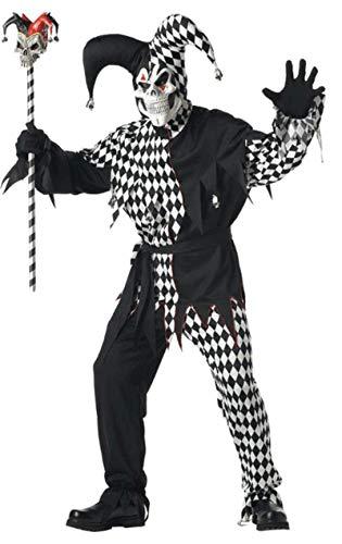 Horror Hofnarr Kostüm Schwarz und Weiß Herren Gr.- S (Hofnarr Kostüm)
