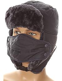 Sakkas Esty Adjustable Chin Buckle Faux Fur Lined Face Mask Unisex Trooper Hat