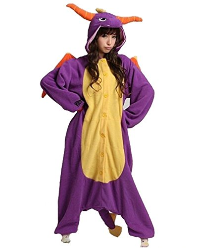 Minetom Unisexe Kigurumi Cosplay Combinaison Pyjama ou Déguisement(Licorne Rose) Dinosaure Violet L (170-180CM)