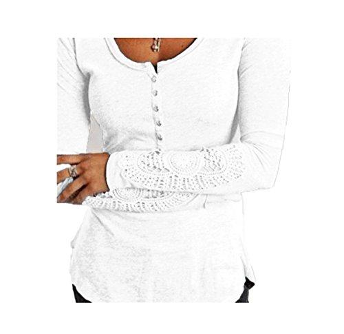 Fanmay Chemisier Femmes Tops à Manches Longues Dentelle O-Cou Slim Débardeurs Top Blouse Haut Shirts Blanc