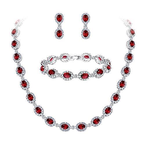 Ever Faith Damen CZ Hochzeit Braut Oval Teardrop Halskette Ohrringe Armband Set Rot Silber-Ton