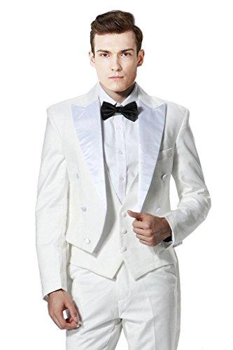MYS da uomo personalizzato in raso bianco picco Lapel coda lunga-Cappotto Gilet Pantaloni Set Bianco White Su Misura