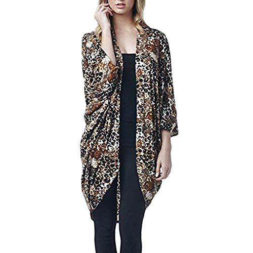 Lose lässige Top T-Shirt Bluse Womens Fledermaus Ärmel Chiffon Leopardenmuster Strickjacke Kittel einfach Bluse Tops -