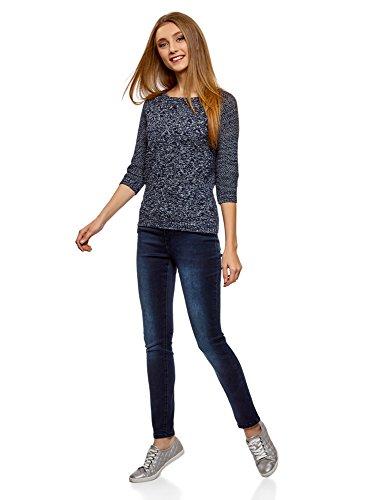 oodji Ultra Damen Pullover mit Geometrischem Muster und 3/4-Ärmeln Blau (7920M)