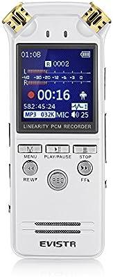 EVISTR Grabadora de Voz Digital de Doble Micrófono Estéreo HD 8GB de Grabación de Alta Calidad Grabadora de Voz Reducción de Ruido Dinámico de 1,4 Pulgadas de Pantalla en Color TFT de Segmentación de Corte Multifuncional, Insertar, Etiquetar la Grabación Favorita Con Reproductor de MP3