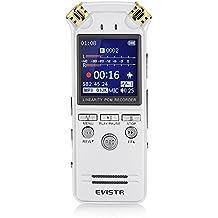Digitale Registratore Vocale Doppio Microfono HD Registrazione Stereo Registrazione Dinamico Riduzione Del Rumore da Evistr, 8G Portatile Registratore Di Suoni con Riproduzione MP3 ELettore Musica