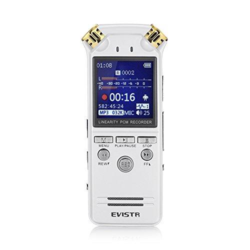 Preisvergleich Produktbild EVISTR Digitales Diktiergerät mit Automatischer Aufnahme Durch Sprachsteuerung. Tragbarer PCM Stereo Rekorder mit 1536kbps Auch als MP3-Player Einsetzbar. Das L150 ist ein Beliebtes Diktiergerät in Europa und den USA (weiß)