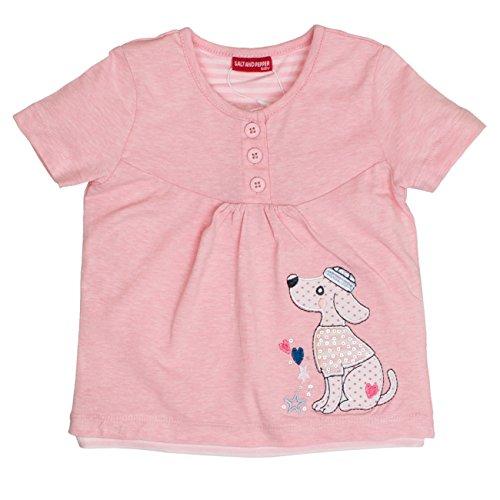 SALT AND PEPPER Baby-Mädchen B Summer Knöpfe Uni T-Shirt, Rosa (Rose Melange 810), 86 810 Rosen