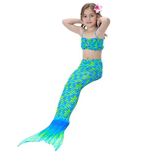 0 Farben Meerjungfrau Schwanz Kostüm Prinzessin Ariel Kinder Meerjungfrau Schwanz Cosplay Kinder Für Mädchen Sommer Phantasie Badeanzug Cartoon Badeanzug, 03, 120 (Cartoon Kostüme Für Mädchen)