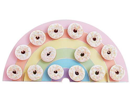 Donut-Wand Regenbogen Pastell-Farben zum Aufstellen für 14 Donuts - Back-Zubehör / Präsentation Gebäck / Backen / Kuchen-Buffet / Candy-Bar Zubehör / Kinder-Geburtstag-s-Deko-Ration