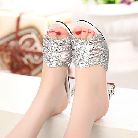 ZYUSHIZ Sandalen Hausschuhe Sommer Frau Outdoor minimalistischen Koreanische Version synthetischer Diamant Silber