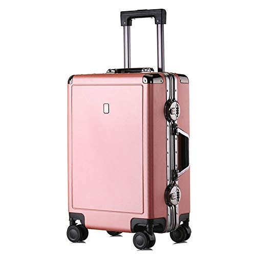 GJF Leichtes Hartgepäck, TSA Customs Password Lock Trolley, 360° Universal Wheel Koffer, PC Aluminium Rahmen Lock Box, Business Vacation Travel Rosegold XL