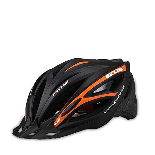 WRGWEHG Fahrradhelm Fahrradreithelm/Schutzhelm / Integriertes Formteil/Kappe / Fahrrad Ultraleichtes Reitzubehör, Schwarz Orange