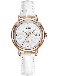 Hermosa Watches LONGBO / 5031 Correa de Cuero Reloj de Moda Femenina Diamante Calendario Dama Reloj