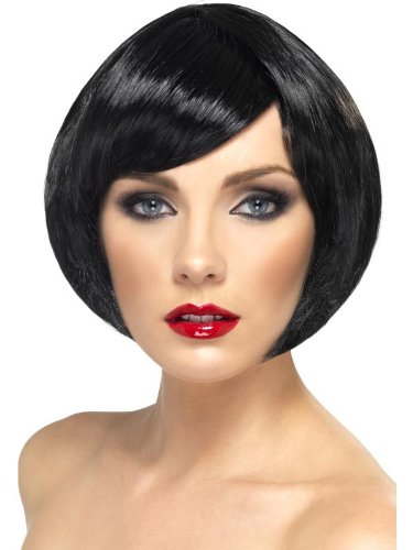 Short Babe Black Bob Costume Wig