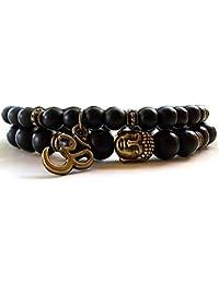 Shining Diva Fashion D'vine Set of 2 Yoga & Meditation Om Charm Buddha Reiki Beads Stylish Bracelet for Men Women(Black)(9377b)