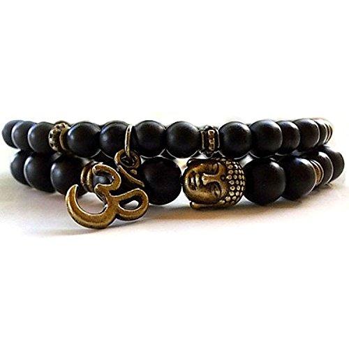 D\'vine Set of 2 Yoga & Meditation Om Charm Buddha Reiki Beads Jewelry Stylish Bracelet for Men Women by Shining Diva Fashion