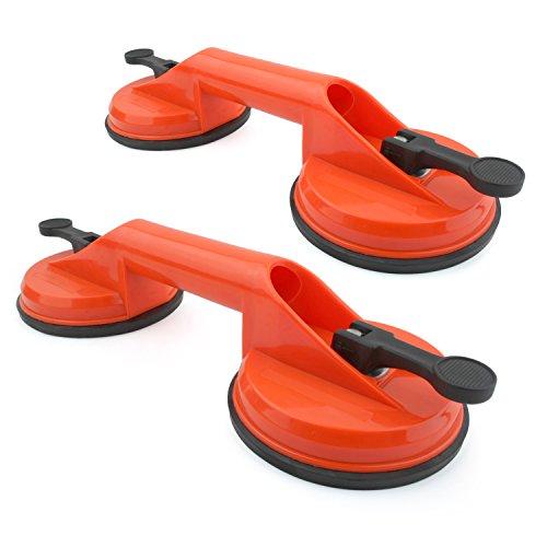 Incutex 2x mango ventosa doble, ventosa mango con capacidad de elevación de 100kg, extractor ventosa, elevador ventosa doble – naranja