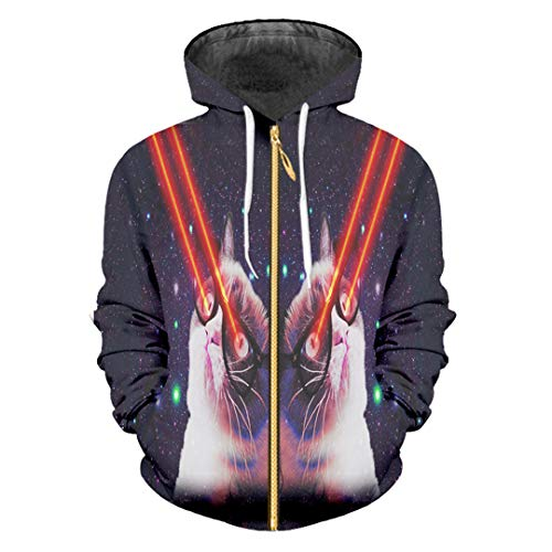 3D-Druck Galaxy Space Hoodies Blitzlicht Katze Sweatshirts Tops Streetwear Hoody Galaxy Space Flash L (Katze Im Flash Kostüm)