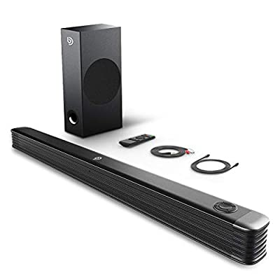 BOMAKER 2.1 Channel Soundbar with Wireless Subwoofer, 150W Soundbar for TV, 110dB Surround Sound System, Wall Mountable, Optical Input, RCA Cable by BOMAKER