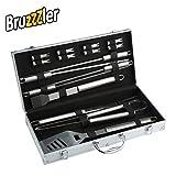 Bruzzzler Set Posate da Grill in Acciaio Inox, Valigetta di Alluminio, 46 x 22 x 8 cm, 16 Pezzi