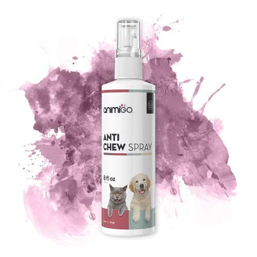 Animigo Anti-Kau Spray   Für Hunde und Katzen   Bitterspray gegen unerwünschtes Kauen und Knabbern   Natürliche Haustier Erziehungshilfe   Kaustopp   236ml Spray