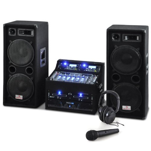 DJ PA Set Rack Star Terra Titan 2000W DJ PA Karaoke Anlage PA-Kompelttset für bis zu 400 Personen(2-Deck-MP3-CD-Player, USB, 2x 500W RMS PA-Lautsprecherbox, mit Kofthörer, Kabel und Mikrofon) schwarz -