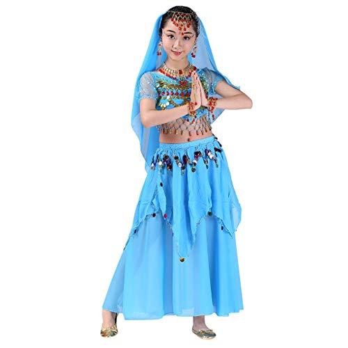 Markthym Handgemachte Kinder Mädchen Bauchtanz Kostüme Kinder Bauchtanz Ägypten Tanz Tuch Girls 'Indian Dance Bauchtanz Performance Zweiteiler -