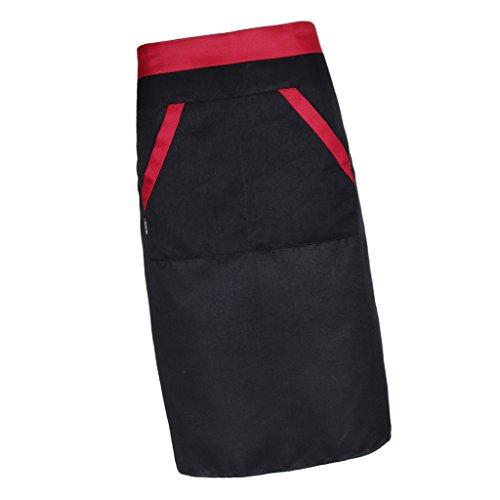 Baoblaze Männer Frauen Chef Schürzen Küchenschürze mit 2 Taschen Bistroschürzen Kochschürze Küchenschürze Grillschürze Backschürze Latzschürze Gastronomie Restaurant Hotel Arbeitskleidung - Schwarz
