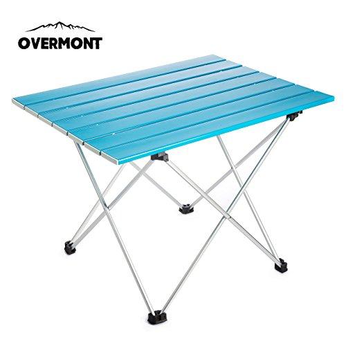 Overmont | Mesa acampada enrollable azul