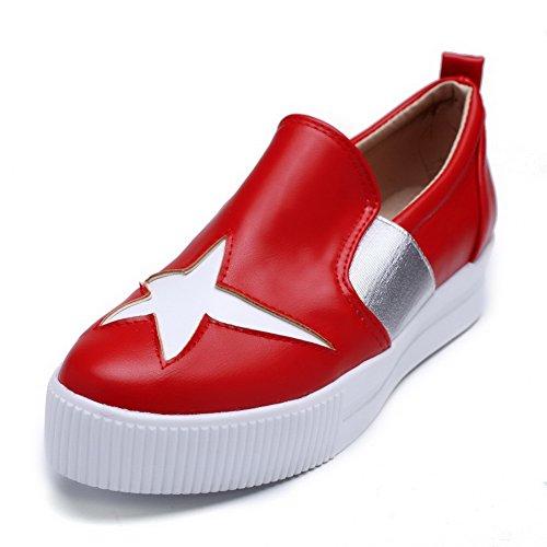 AgooLar Femme Pu Cuir à Talon Bas Rond Couleurs Mélangées Tire Chaussures Légeres Rouge