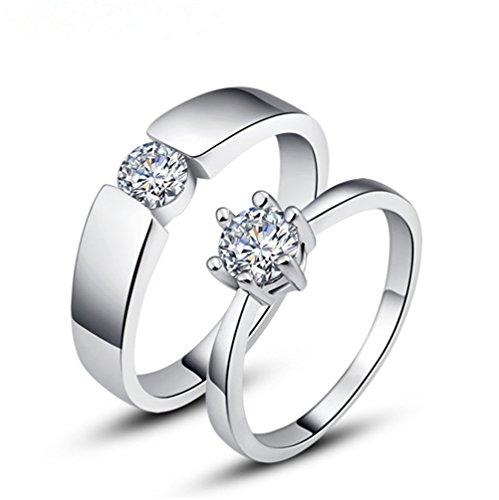 """elufly """"Eternal Neder"""" 1paio in argento Sterling 925anelli paio amanti della fascia del matrimonio fidanzamento anello Set, Anello da uomo, 23,5, colore: White, cod. EF0019-M-U1/2-21"""