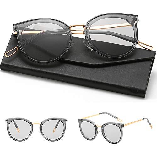 HQMGLASSES 2019 Einfache Stil Damen polarisierte Sonnenbrille Süßigkeiten transparent transparent Promi getönten Brille und Fall, 100% UV400 Schutz für Freizeit/Urlaub,TransparentGrayFrame