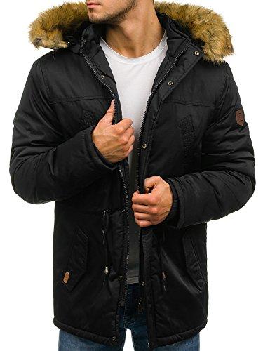 BOLF Hombre Chaqueta de Invierno Parka con Capucha Pelo Artificial Estilo Diario JOHN RICCI R53 Negra XXL [4D4]