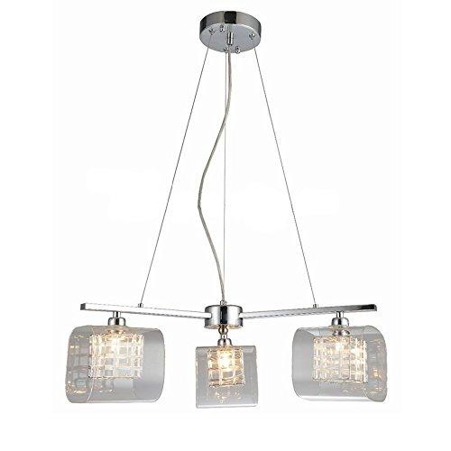 3 Licht Moderne Glas Kronleuchter Decke Anhänger Licht Schatten, Fancy Glas Hängelampe mit G9 Glühbirne, Eisen fertig - Decke Anhänger Fertig