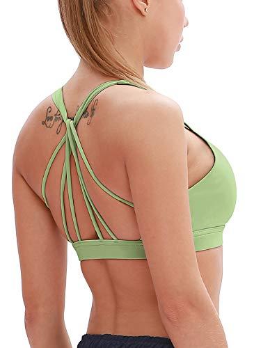 icyzone Yoga Sport-BH Damen Bustier mit Gepolstert - Atmungsaktiv Ohne Bügel Sports Bra Top (XL, Pastel Green)