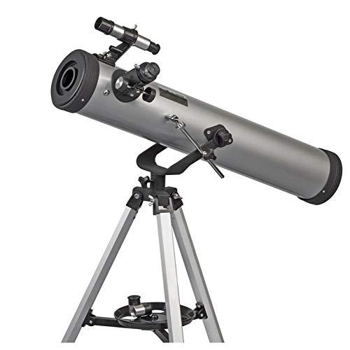Telescopio Reflector Grande Zennox de 76 X 700 con Alcance de Buscador 5 X 24, 3 X Barlow Y 1.5 X Erector Lense,Gris,Telescopio