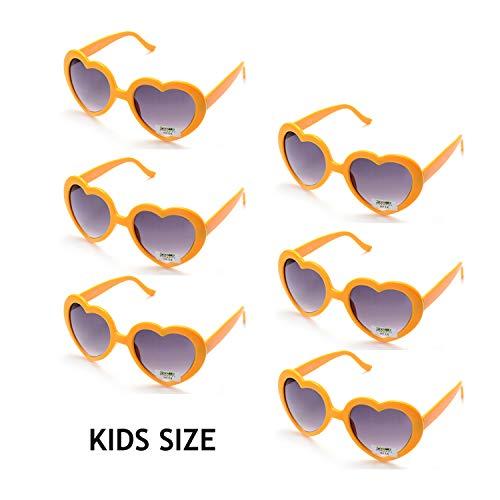 Onnea 6 Stücke Herzform Party Favorisiert Sonnenbrillen für Kinder (6er-Packung Gelb)