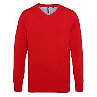 Asquith & Fox Mens Cotton Rich V-Neck Sweater (L) (Cherry Red)