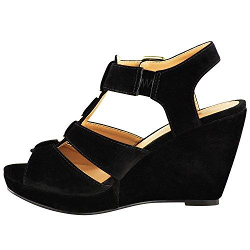 Sandales bout ouvert pour femmes brides Daim Noir