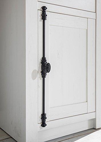 Wohnwand Anbauwand mit Highboard & Vitrine 440972 pinie weiß 4-teilig - 8