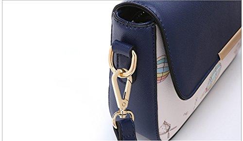 Versione coreana di moda personalizzata del pacchetto di marea, borsa a tracolla, zaino obliquo, borsa a quadretti degli studenti selvatici ( Colore : White+dark blue ) Red wine+black