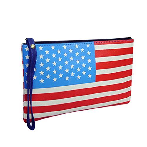 SoonerQuicker Messenger Bag Damen Mode Dame Classic Vintage Flag Clutch Bag Wild Handgelenk Umschlag Tasche Beutel A One Size