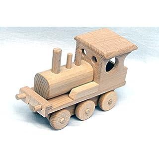 Unbekannt Zug Lokomotive + 3 Wagen Kleinmodell Holz-Farzeug im Retro Stil Ökologisch .Kinder Holzspielzeug Fahrzeuge.